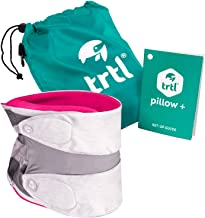 trtl Pillow Plus, Travel Pillow - Fully Adjustable Neck Pillow for Airplane Travel, Car, Bus and Rail. (Pink) Includes Wat...
