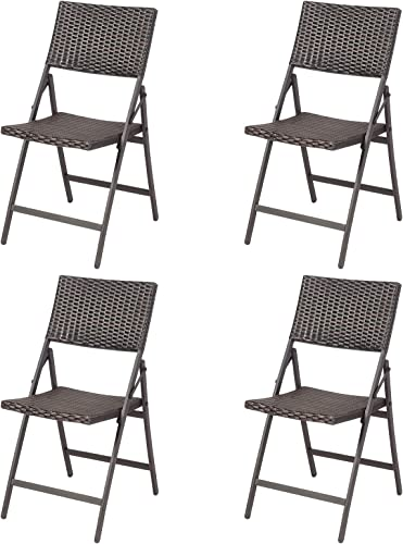 new arrival Giantex sale Set of 4 Patio Chairs, Folding Rattan Lawn wholesale Chairs with Armrest, Outdoor Sling Camping Chairs for Porch Garden Pool Yard sale