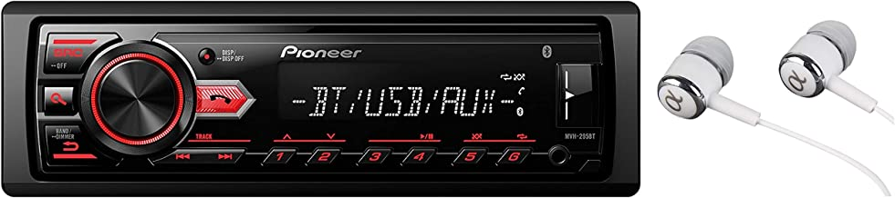 Pioneer In-Dash Built-in Bluetooth CD, Front USB Auxiliary, MP3, Pandora, AM/FM and SiriusXM Ready, built in iPod, iPhone, and iPad controls, ARC phone app Car Stereo Receiver with ALPHASONIK EARBUDS