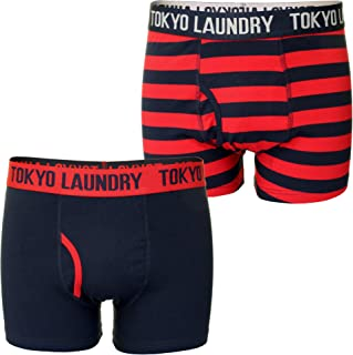 Tokyo Laundry Mens 2 Pack Boxed Plain & Striped Boxer Shorts 'Newburgh'