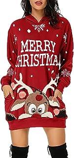 ❤ Robe Femme Hiver, YUYOUG Sweat avec Capuche Femme Sweatshirt Casual Pull Hoodie Impression de Noël Sweat Décontracté Chi...