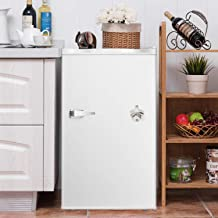 3.2 CU. FT Compact Refrigerator with Handle MIni Fridge Chiller and Freezer Compartment with Removable Glass Shelves Small Drink Food Storage Machine for Office, Dorm, Apartment, Bedroom(Ivory white)
