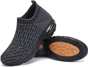 أحذية رياضية نسائية مزودة بجوارب سهلة الارتداء المشي للبنات أحذية مريحة شبكية أحذية رياضية أنيقة بنعل سميك بدون كعب رمادي 5
