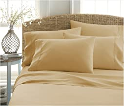 BECKY CAMERON ienjoy Home 6 Piece Double Brushed Microfiber Bed Sheet Set, King, Gold
