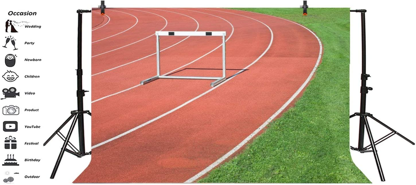 10x6.5ft Athlete Running Track Backdrop Grassland Athletics Competition Sportsman Runway Hurdle Photo Background Sports Theme Party Activity Photo Booth Back Drop