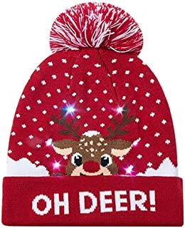 afde9bb3a1e83e Euone 🦄 Christmas Hat, Women Men LED Light-up Caps Knitted Ugly Sweater  Hats