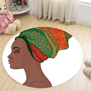 MOOCOM African Woman Practical Round Mat,Afro Female Young Beauty Traditional Hair Dress Turban Ornate Decorative for Home Office,59''R