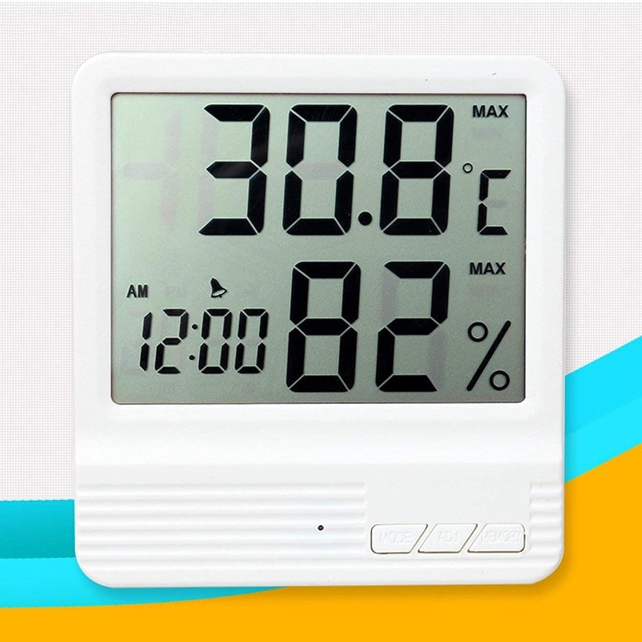 スコットランド人流すベスビオ山Saikogoods 電子体温計湿度計 デジタルディスプレイ 温度湿度モニター アラーム時計 屋内家庭用 白