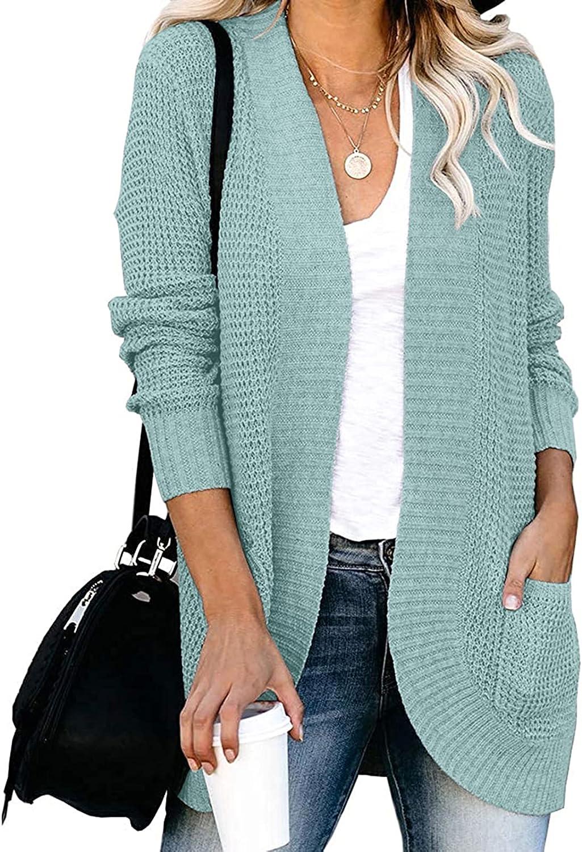 ZESICA Department store Women's Long Beach Mall Sleeve Open Kn Casual Soft Lightweight Front