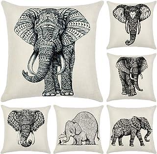 N/A Fundas de cojín de Elefante Hodeacc de 6 Piezas, Funda de cojín Decorativo Elefante Impreso en Blanco y Negro de 18 x 18 Pulgadas,decoración para el hogar,Solo Caso