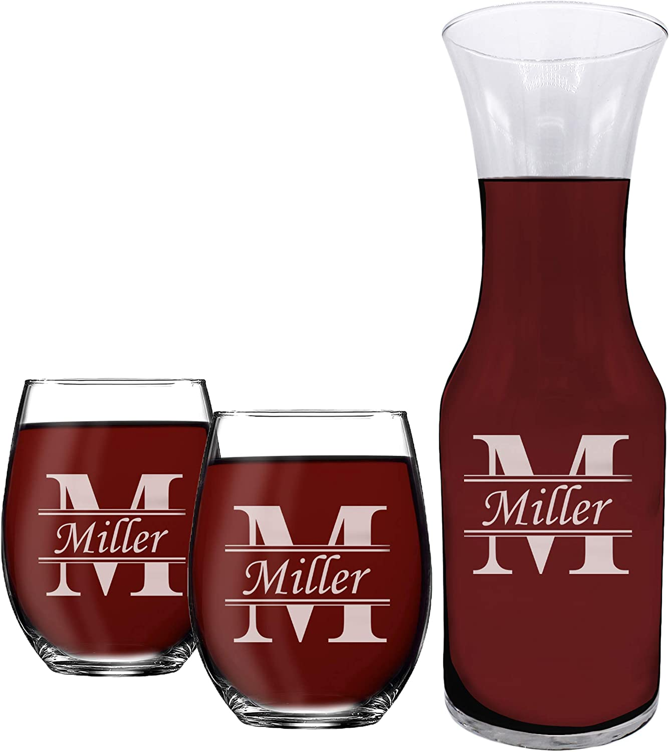 Engraved Wine Carafe Decanter with 人気商品 2 S Customized 15 正規販売店 oz Matching