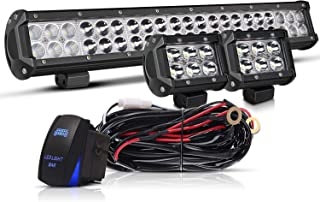 20 IN LED Light Bar W/2pcs Spot Pods Cubes Switch Harness Fit Tractor Boat Utv Golf Cart Jeep Ford Polaris RZR Ranger Honda Atv Gmc Yukon Pickup Tacoma Am Commander 4Wheeler Yamaha John Deere Suburban
