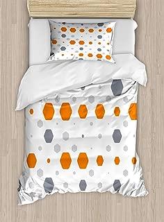 SLobyy Geometric Duvet Cover Set, Abstract Hexagon Pattern Modern Style Geometric Illustration Honeycomb, Decorative 2 Piece Bedding Set with 1 Pillow Sham, Twin Size, Orange Grey Pale Grey