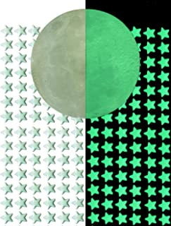 DUOFIRE Glow In The Dark Stars Wall or Ceiling Stickers,3D Glowing Ultra Bright Stars of 216Pcs And 1 Full Moon,Perfect For Kids Bedding Room or Birthday Gift,Beautiful Wall and Ceiling Decors