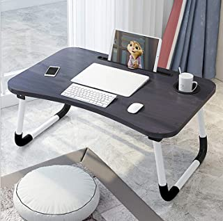Laptop Bed Tray Table, Foldable Lap Desk Stand, Multifunction Lap Tablet with Ipad and Cup Holder Perfect for Eating Breakfast, Reading Book, Working,Watching Movie on Bed/Couch/Sofa/Floor