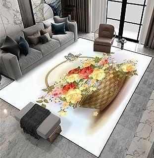Area Rug Non-Slip Floor Mat Wicker Basket with Roses Victorian Style Indoor Outdoor Living Room Kids Room Bedroom Carpet R...