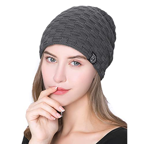 c96b393b930a ISASSY Unisex Slouch Beanie Warm Knitted Winter Hat for Men and Women Black