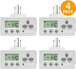 TOPGREENER TGT02 Plug In Timer for Electrical Outlets (Programmable, Digital, 3-Prong, Indoor/Outdoor, Heavy Duty, LCD Display, UL Listed, Off White, 4 Pack) - 1800W 120V 15A