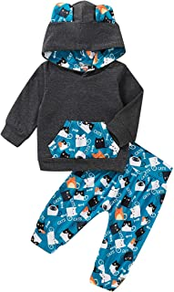 Happy Town Infant Toddler Baby Boys Clothes Cartoon Cat Clothing Sets Pocket Hoodie+Pants Winter Fall Funny Outfit