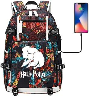 Mochila Harry Potter Avatar,Bolso del Estudiante de la Mochila del Ordenador portátil,con Puerto de Carga USB(Orange) 47/30/15cm estilo-19