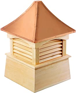 """Good Directions Coventry Louvered Cupola with Pure Copper Roof, Cypress Wood, 18"""" x 24"""", Quick Ship, Reinforced Rafters an..."""