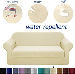 Granbest Stretch Sofa Slipcovers 3 Cushion Couch Covers Water-Repellent Pet Furniture Covers Dog Couch Protectors (Beige, Sofa-2 Pieces)