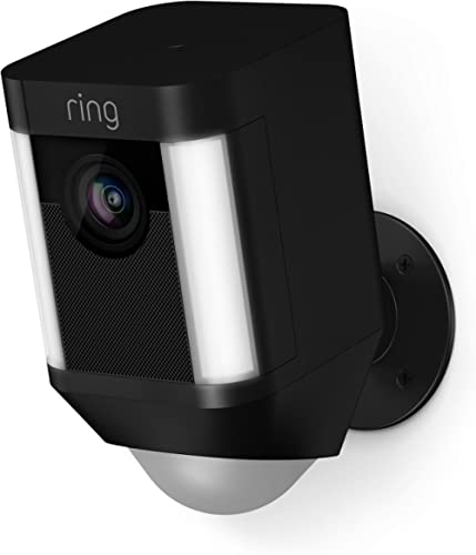 Ring Spotlight Cam Battery HD Security Camera with Built Two-Way Talk and a Siren Alarm, Black