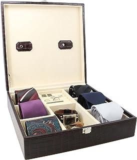 صندوق ربطة عنق مصنوع يدويًا من الجلد تمساح وصندوق تخزين أزرار الأكمام للرجال من ديكوريباي - بني اللون