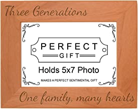 Gifts For All By Rachel Olevia Three Generations One Family Many Hearts Natural Wood Engraved 5x7 Landscape Picture Frame Wood