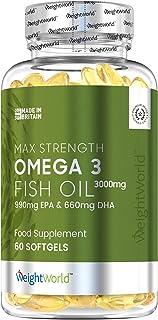 Omega 3 Aceite de Pescado Puro 3000 mg - 990 mg de EPA + 660 mg DHA - Efecto Antiinflamatorio y Antioxidante, Suplemento para la Salud de Cerebro, Hígado y Corazón, Controla Colesterol, 60 Cápsulas