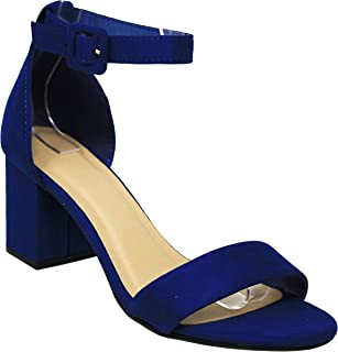 MVE Shoes Women's Open Toe Single Band Buckle Ankle Strap Chunky Low Mid Block Heel Sandal, Cake M-Navy 10