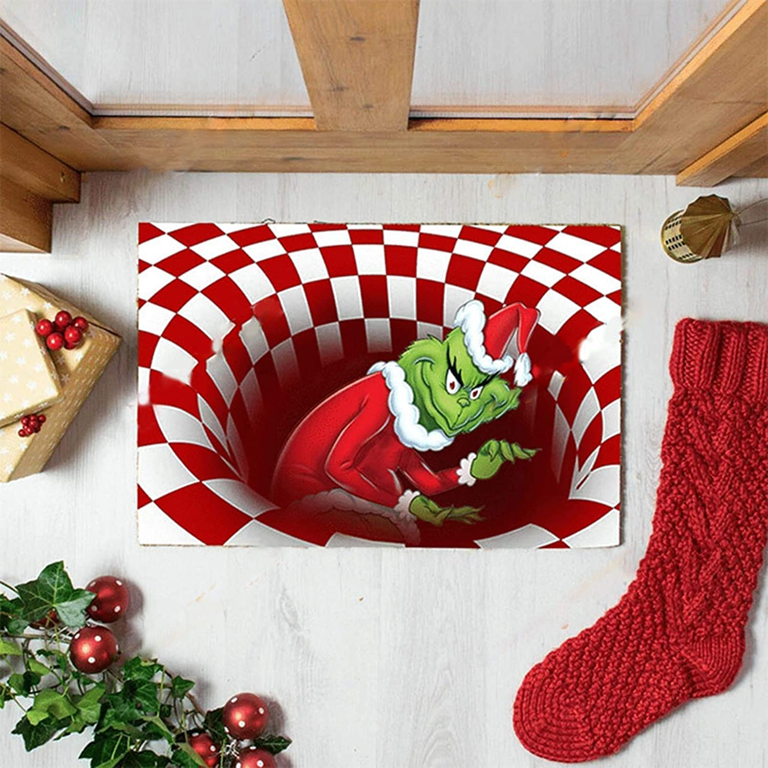 N//H Grinch Illusion Doormat,Christmas Decoration Door Mat,3D Visual Illusion Shaggy Rug for Bedroom Home Decor,Quickly Absorb Moisture and Resist Dirt Rugs Black, 50X80 cm