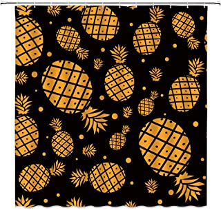 WZFashion Golden Pineapple Shower Curtain Watercolor Ananas Dot on Simple Black Background Tropical Fruit Pattern Decor Summer Modern Creative Art Fabric Bathroom Curtain 70 X 70 Inch with Hook