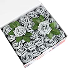 Febou Artificial Flowers, 50 pcs Real Touch Artificial Foam Roses Decoration DIY for Wedding Bridesmaid Bridal Bouquets Centerpieces, Party Decoration, Home Office Decor (Standard Type, Grey)