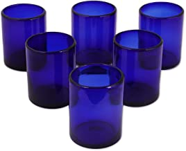 NOVICA Artisan Crafted Hand Blown Blue Recycled Glass Tumbler Glasses, 12 oz 'Cobalt Dreams' (set of 6)