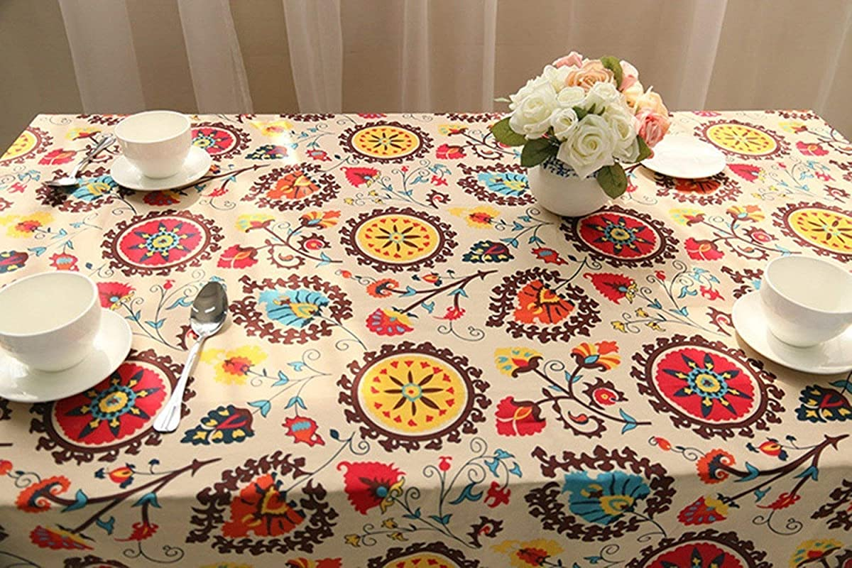 HOOYE Bohemian Style Rectangle Tablecloth Linen Lace Table Cloth For Dinner Parties Table Cover 55X98 4 Inch Bohemian Style