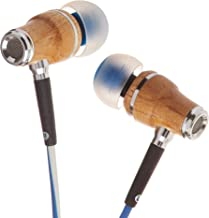 Symphonized NRG X Maple Premium Genuine Wood Earbuds, in-Ear Noise-Isolating Headphones, Earphones with Angle-Fit Ear Tips, in-line Microphone and Volume Control, Stereo Earphones (Blue & White)