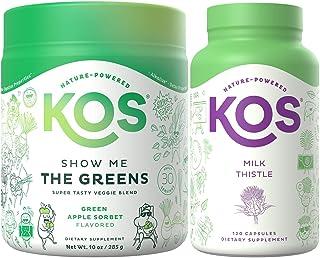 KOS Digestive Duo - Organic Greens Powder + Milk Thistle Capsules