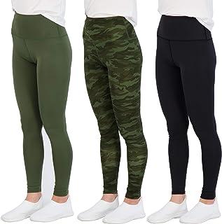 Real Essentials 3 Pack: Women's High Waisted Leggings Full-Length Yoga Pants