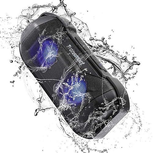 Tronsmart Enceinte Bluetooth Waterproof 14W, TWS Stéréo Haut Parleur Portable sans Fil, Pilote Double, 12 Heures de Jeu et Lumineuse LED, IPX56 Etanche, Compatible Android, iPhone et Autres Bluetooth
