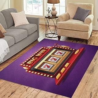 Pinbeam Area Rug Jackpot Slot Casino Machine One Arm Bandit Home Decor Floor Rug 5' x 7' Carpet