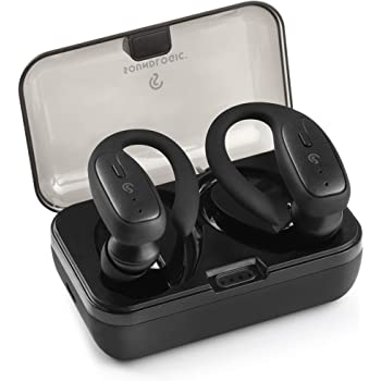 Soundlogic True Sports True Wireless Sports Earbuds Bluetooth TWS Earphone IPX4 Water Resistance with Deep Bass and in-Built Mic Headphone Voice Assistant with 20 Hours Battery (Black)