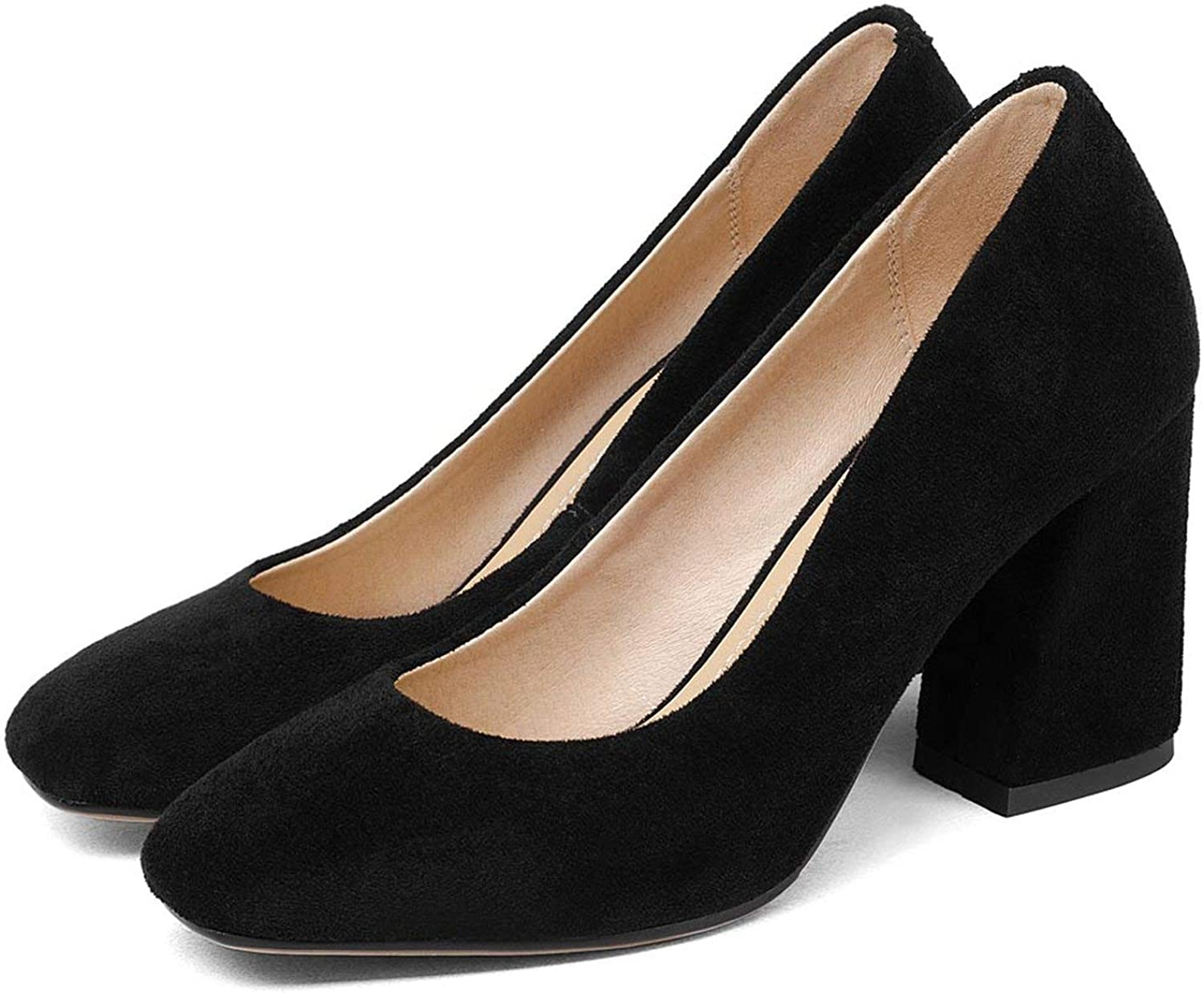 Get-in Women Pumps Thick High Heels Flock Nude colors Black Red Sheepskin shoes Woman