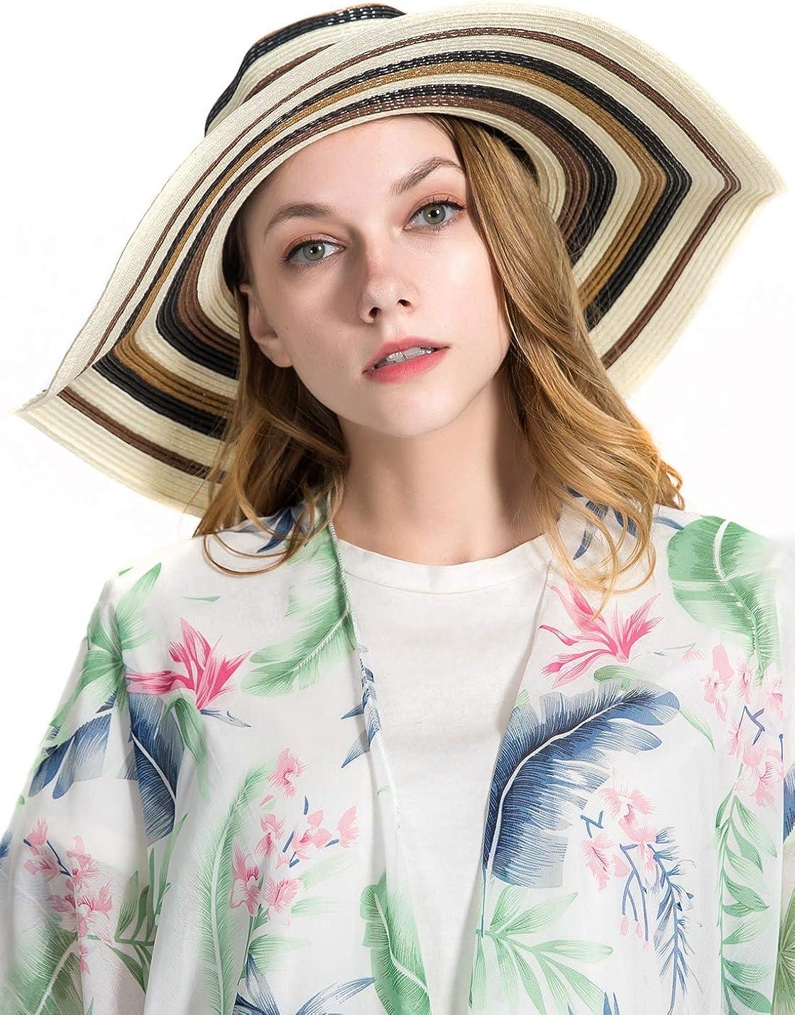 umsif Women Colorful Stripes Wide Brim Straw Panama Hat,Roll Up Hat Fedora Beach Sun Hat for Women Summer Hats UPF50+