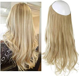 SARLA® Synthetic Hairpieces Flip in Women Hair Extensions Natural Wave Invisible Halo Hair Extensions M01 (16H613 Dirty Blonde)