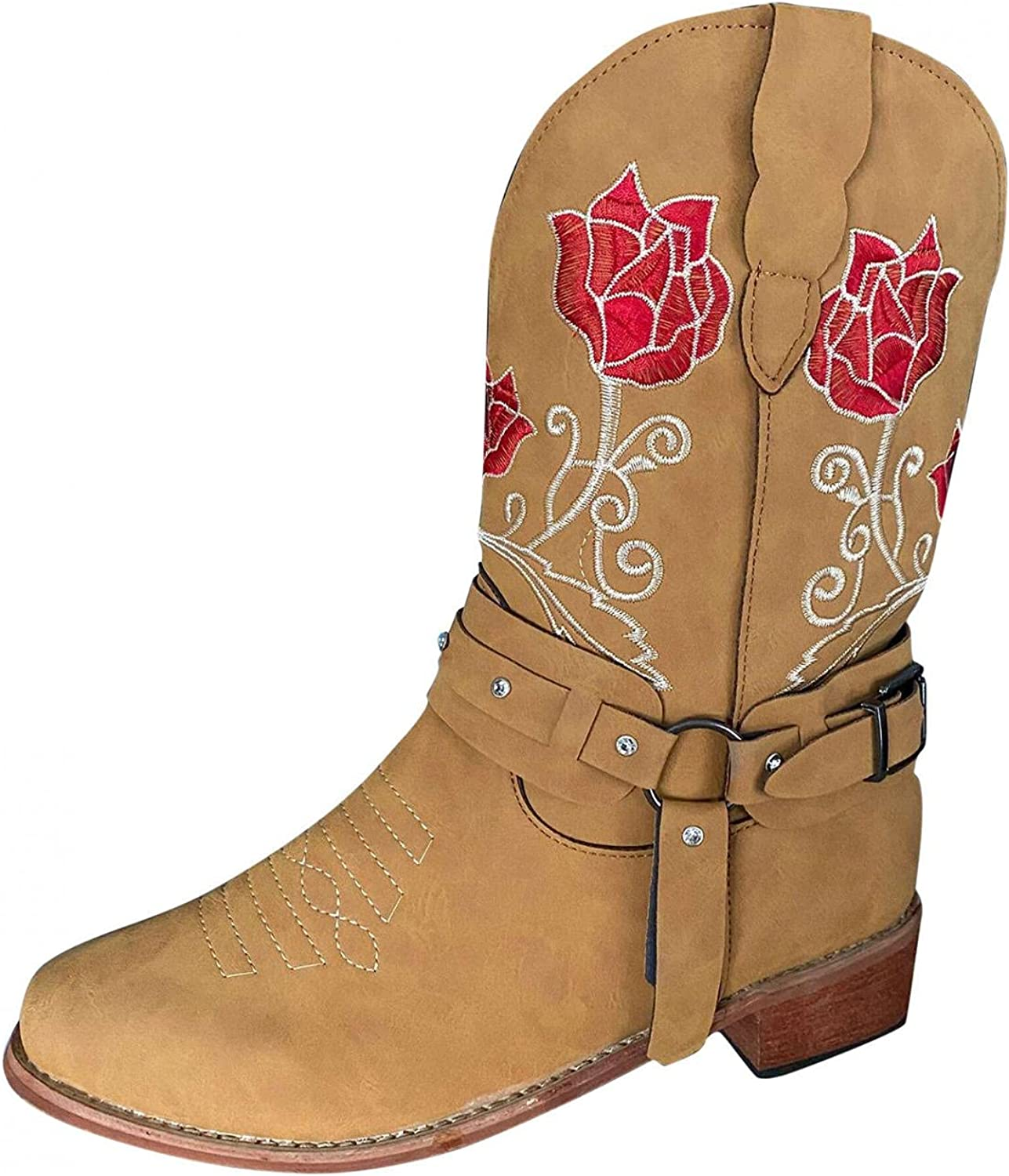 Masbird Cowboy Boots for Women Square Toe Flower Embroidery Cowb