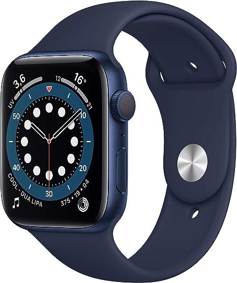 Amazon.nl-AppleWatch Series6 (GPS, 44-mm) kast van blauw aluminium - Donkermarineblauw sportbandje-aanbieding