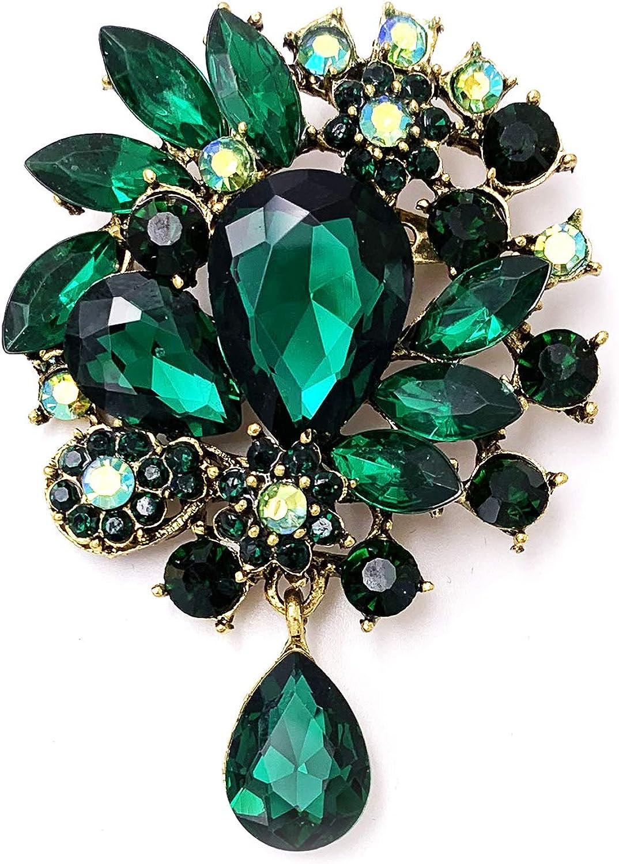LAXPICOL Vintage Wedding Bridal Big Blue Crystal Rhinestone Tear drop Brooch Pin for Women