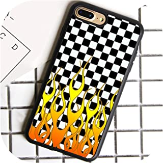 Checkered Checkerboard Flame Phone Case for iPhone 7 8 6 6S Plus X 5 5S Se Cover TPU Black Capa for iPhone Xr Xs Max,for iPhone 7,7001