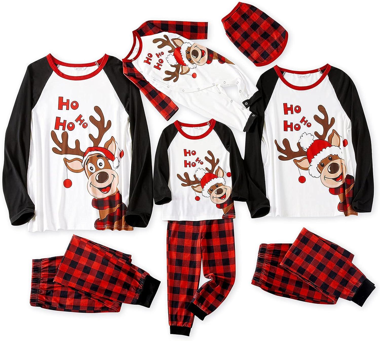 IFFEI Matching Family Pajamas Sets Christmas PJ's Reindeer Print Long-sleeve Sleepwear